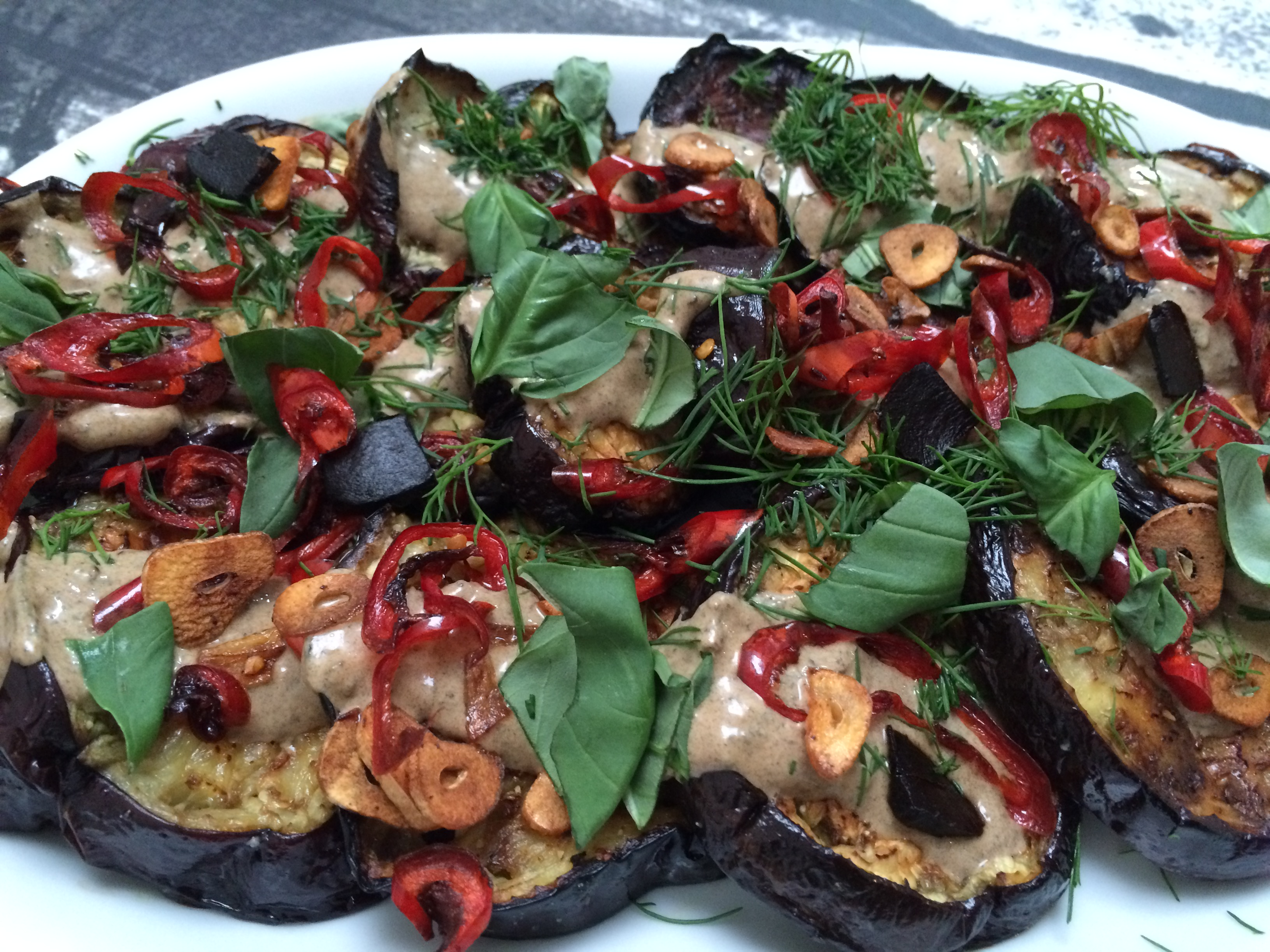 Aubergine with black garlic